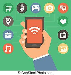 vector, teléfono móvil, con, iconos, en, plano, estilo