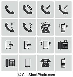 vector, teléfono negro, iconos, conjunto