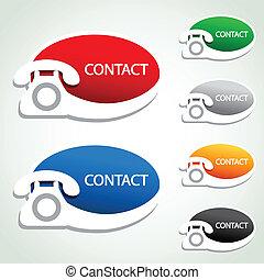 vector, teléfono, pegatinas, -, contacto, iconos