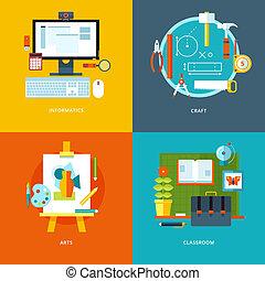 vector, tela, conjunto, iconos, móvil, apps., educación,...