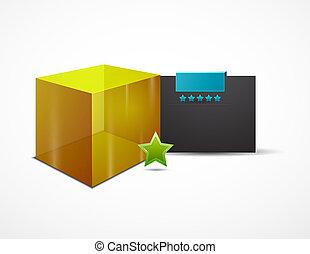 vector, tela, diseño caja, plantilla