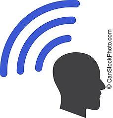 Vector Telepathy Waves Flat Icon Symbol