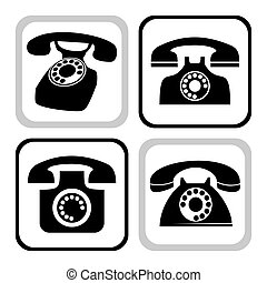 Collection of classic black desk phone silhouettes or icons, web elements, vector illustration. File contains eps 8 and hi res jpeg.