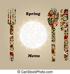vector temlate for menu with knife, fork, napkin, and spoon