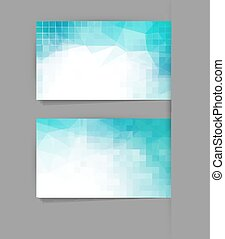 Vector template business card with blue geometric background