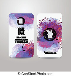 Vector template business cards with watercolor paint...