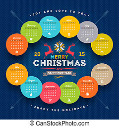 Vector template calendar 2015 with christmas type design elements