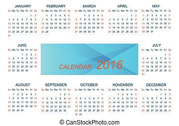 Vector template calendar 2016 . Week starts with sunday