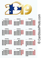 Vector template calendar 2019 with number in circles, simple...