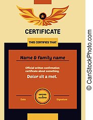 Vector Template Certificate