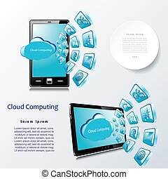 Vector template  cloud computing for communication business