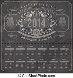Ornate vintage calendar of 2014 - Vector template design -...