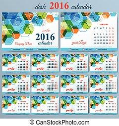 Vector template desk calendar 2016 years . Week starts monday