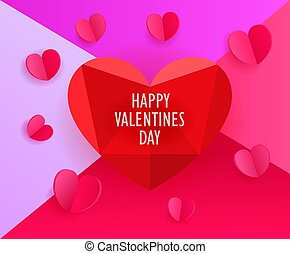 Vector template for a greeting card. Happy Valentines day