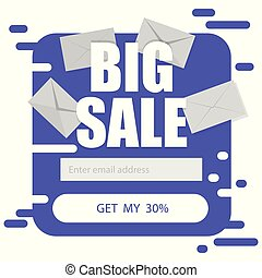 Vector template for email subscribe in purple on a white background. Big sale discounts
