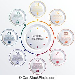 infographic diagram with 8 options circles.