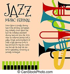 Vector template for jazz concert poster or flyer featuring orchestral instruments