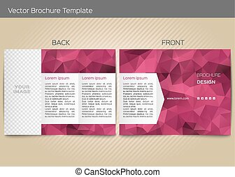 Vector template for leaflet - Polygonal vector design...