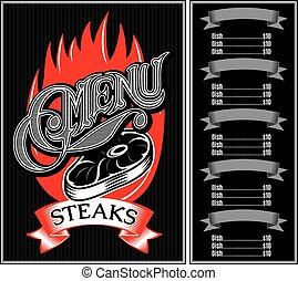 template for menu of steaks, grill, barbecue
