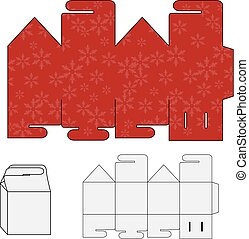 Vector template for paper wrapper, cover, shopping bag with a red christmas design. Paperbag, handbag with snowfalkes background.