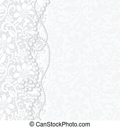 Vector template for wedding, invitation or greeting card with lace background and pearl necklace