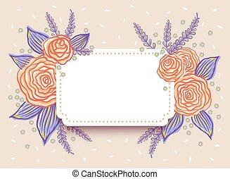 Wedding invitation with roses.