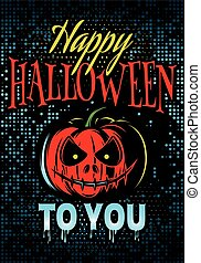 template Halloween party with a pumpkin for advertising or invitation