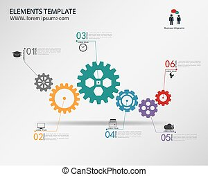 vector template Infographic  with gear chain.