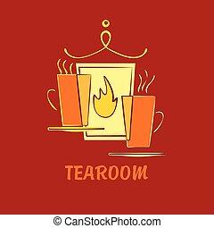 Vector template logo for tea room, suburban cafe, hotel, premium