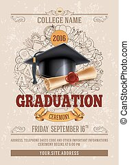 Graduation ceremony - Vector template of announcement or ...
