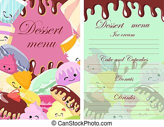Vector template of dessert, candy, bakery and sweets menu. Sketch hand drawn illustration. Colorful background.