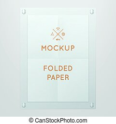 Vector template of folded poster in glass frame, placed in interior. Mockup for your posters or photos. Light style.
