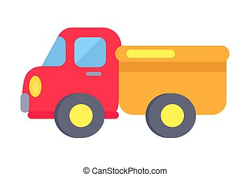 Vector Template of Plastic Toy Truck On White - Minimalistic...