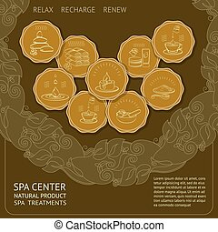 Vector template spa themed card with icons