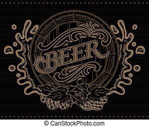 template with a barrel of beer advertising poster menu - ...