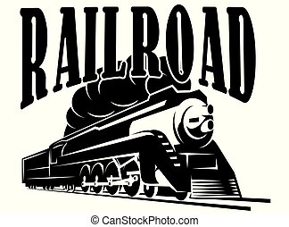 vector template with a locomotive, vintage train