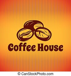 Vector template with coffee beans for logo or menu