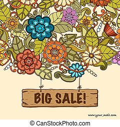Vector template with floral doodles. Sale banner.