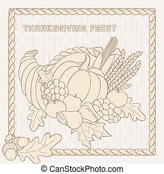 Vector template with hand drawn Thanksgiving elements.