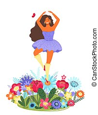 Vector template with happy woman dancing on a flower. Modern flat colorful vector illustration.