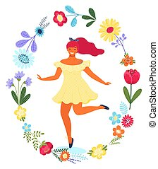 Vector template with happy woman in the flower circle. Modern flat colorful vector illustration.