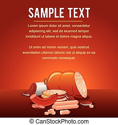 Vector Template with Meat Products on Shop Counter