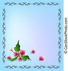 Vector template with ornamental frame and flowers