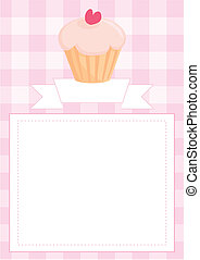 Vector template with pink cupcake