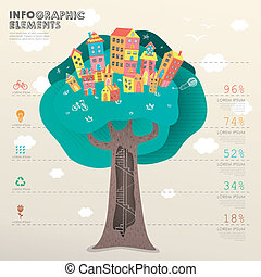 vector template with tree beneath houses - vector...