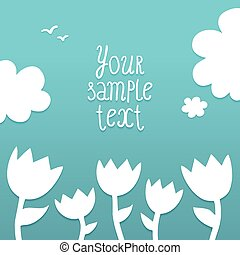 Vector template with white flowers on blue background