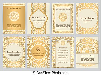 Vector templates for A4 with florals in beige, gold colors