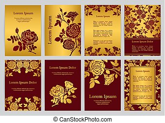 Vector templates for A4 with silhouette english roses