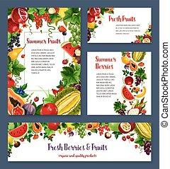 Vector templates for exotic garden fruits berries