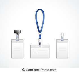 vector templates for name tag with lanyard, retractor end...